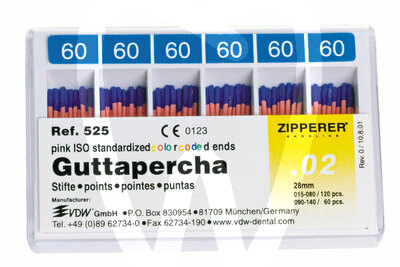 Product - PUNTAS DE GUTTAPERCHA ISO Nº 15-80 ZIPPERER-VDW